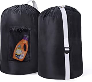 """Wanapure 2 Pack Laundry Bag Backpack with Mesh Pocket, 40"""" X 28"""" Nylon Laundry Backpack with Adjustable Strap, Rip-Stop Dirty Clothes Laundry Bags for Travel, College Apartment Dorm, Laundromat, Black"""