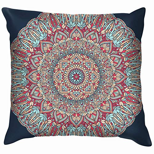 Moily Fayshow Flower Mandala Vintage Decorative Elements Oriental Pillow Case Throw Pillow Cover Square Cushion Cover 16X16 Inch