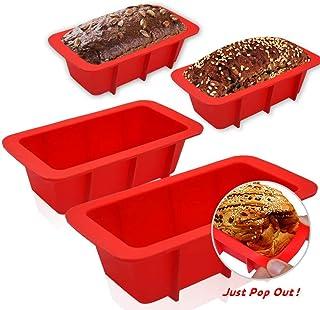 Walfos Molde de silicona para pan – 4 mini moldes antiadherentes para hornear, pan, pastel de carne y quiche – grado alimenticio y libre de BPA