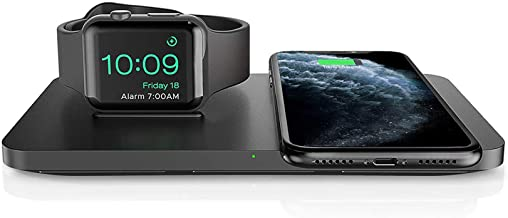 Wireless Charger, Seneo 2 in 1 Dual Wireless Charging Pad with iWatch Stand for iWatch 6/5/4/3/2, 7.5W Wireless Charger for iPhone 12/11/11 Pro Max/XR/XS Max/XS/X/8, Airpods(No iWatch Charging Cable)