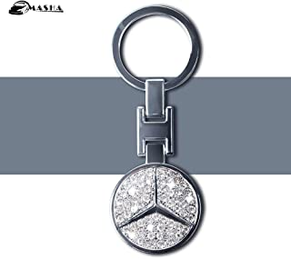 MASHA Mercedes Benz Car Keychain Car Logo Key Ring 3D Metal Emblem Pendant Double Side Zircon Crystal Decoration Lanyard Keychains for Gifts