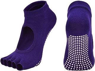 NO BRAND Yoga Calcetines de algodón Mujeres sin Respaldo de la Yoga del Dedo del pie Calcetines Transpirable Antideslizante de Silicona Deportes Pilates Calcetines de Gimnasia Comfortable