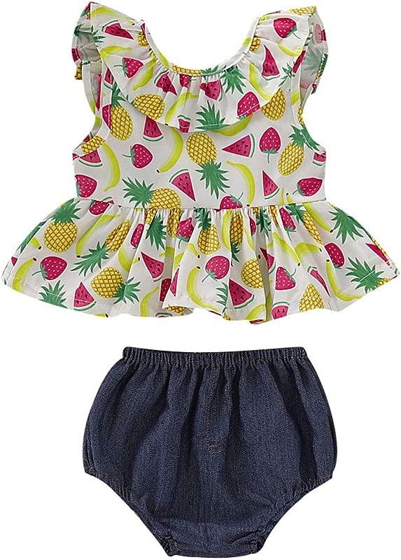 Newborn Baby Girl Summer Dress Tops Tutu Pants 2PCS Outfits Clothes Sunsuit Set 0 24M