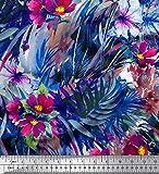 Soimoi Blau Baumwolle Batist Stoff Blätter & Blumen Textur