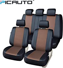 PICAUTO Car Seat Covers Set for Auto, Truck, Van, SUV - PU Leather, Airbag Compatible, Universal Fit (Light Brown 9-Pieces)
