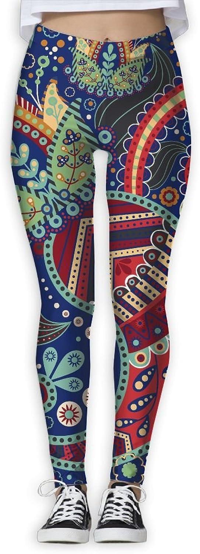 Retro Paisley Womens Power Flex Stretch Yoga Pants Workout Tights Leggings Trouser