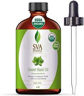 SVA Organics Sweet Basil Oil 4 Oz Organic USDA Certified 100% Pure Natural Premium Grade for Skin, Hair, Scalp, Massage & ...