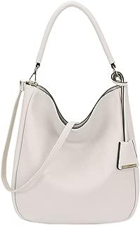 DAVIDJONES Women's Top Handle Shoulder Hobo Handbags Tote Purse, Creamy Gray