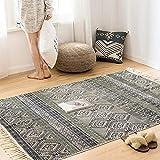 GUIOB BAIVIT Vintage-Teppich Aus Baumwolle - 120 X 170 cm Maschinenwaschbarer Teppich Im Böhmischen Stil Mit Quastendekoration Für Wohnzimmer Schlafzimmer Küche Fußmatten,Beige