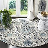 Safavieh Madison Collection MAD600C Bohemian Chic Glam Paisley Area Rug, 4' Round, Cream/Light Grey