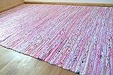 Rosa Chindi Algodón trapo alfombra tejida a mano reciclado tela, 120 x 180 cm