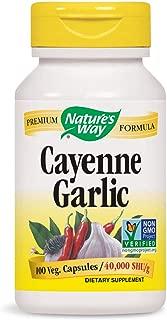 Nature's Way Cayenne Garlic, 40,000 HU Potency, 100 Vegetarian Capsules, Pack of 2