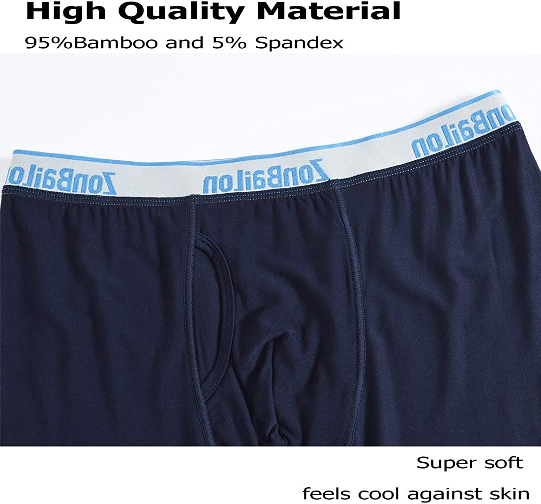 zonbailon Bamboo Big Mens Underwear Boxer Briefs Breathable Comfort Waistband in 4-Pack 6-Pack