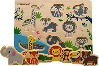 GYBBER&MUMU Animals Shape Sorter Board Wooden Peg Puzzles for Toddlers Early Skills Educational Toys