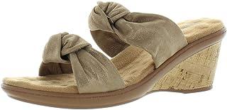 Walking Cradles Womens Louisa Suede Cork Wedge Sandals