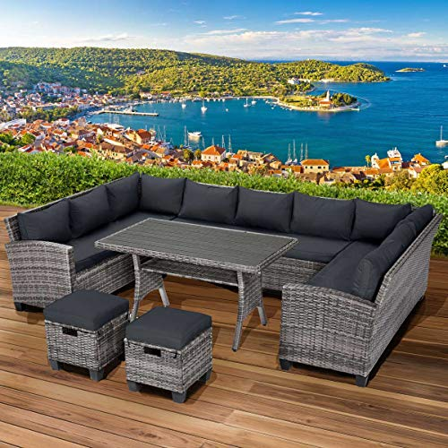 BRAST Poly-Rattan Sitzgarnitur Sofa Essgruppen-Kombi Family 11 Personen Grau/Anthrazit Garten Lounge Sitzgruppe Gartenmöbel
