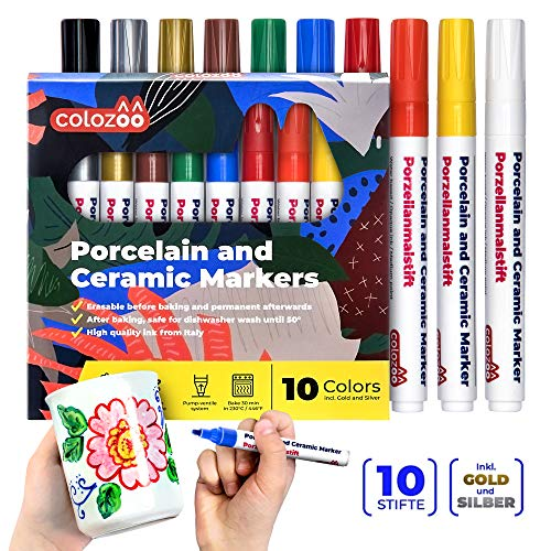 Colozoo Porzellanstifte spülmaschinenfest 10 Farben mit Gold und Silber   Verändbar vor dem Einbrennen Porzellanmalstifte für Tassen   Wasserfeste Stifte für Keramik und Glas 10er-Set