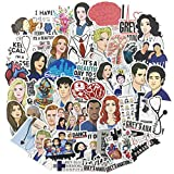 50pcs TV Stickers, Fashion Water Bottle Laptop Stickers, Cool/Trendy Vinyl Decal for Teen Girl Kids, Perfect for Phone Travel Case Computer Notebook Guitar (Grey's Anatomy)
