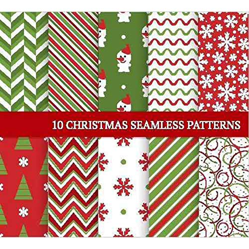 Pack of 10 Patchwork Fabrics 50 x 50 cm Christmas Fabrics Cotton Cloth Fabric Packages DIY Handmade Sewing Quilting Fabric Multi Colours with Patterns for Quilting DIY Skill