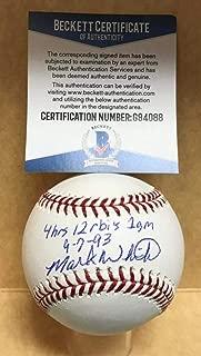 MARK WHITEN 4HR 12 RBI'S 1 GAME 9-7-93 SIGNED M.L. BASEBALL BECKETT G94088