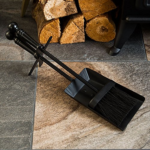 Fire Vida Hearth Shovel And Brush Set, Black Fireside Fireplace Tidy