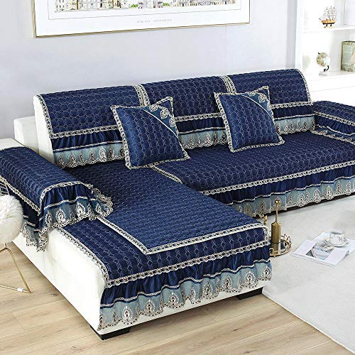 Suuki Sofa Cover slipcovers,Fundas de sofá con faldón de 20 cm,Funda de sofá de Tela de Estilo Europeo,Manta de sofá de 2/3/4 plazas,Funda de reposabrazos,Toalla de Respaldo-Armada_Los 90 * 120cm +