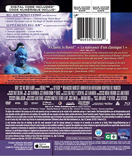 Aladdin (2019) [Blu-ray + DVD + Numérique] (Bilingue) - 1
