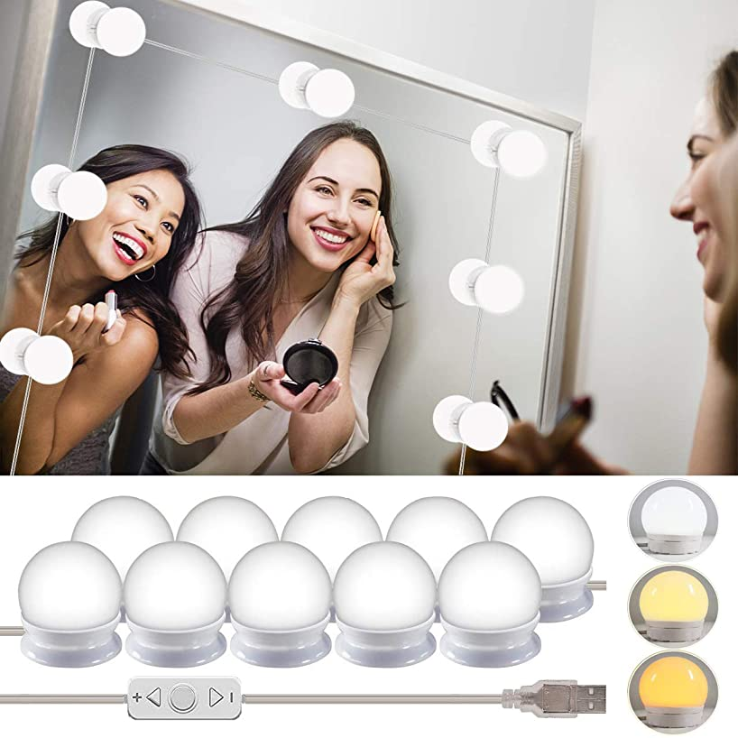 LED Vanity Mirror Lights Kits-Rantizon Hollywood Style LED Makeup Lights with 10 Dimmable Bulbs for Makeup Dressing Table with 5 Gear Adjustable Brightness Touch Dimmer and USB Power Cord