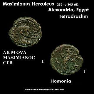 288 IT Maximianus Herculeus 288 AD. Homonia hand raised. Alexandria. Tetradrachm Coin. Tetradrachm Good