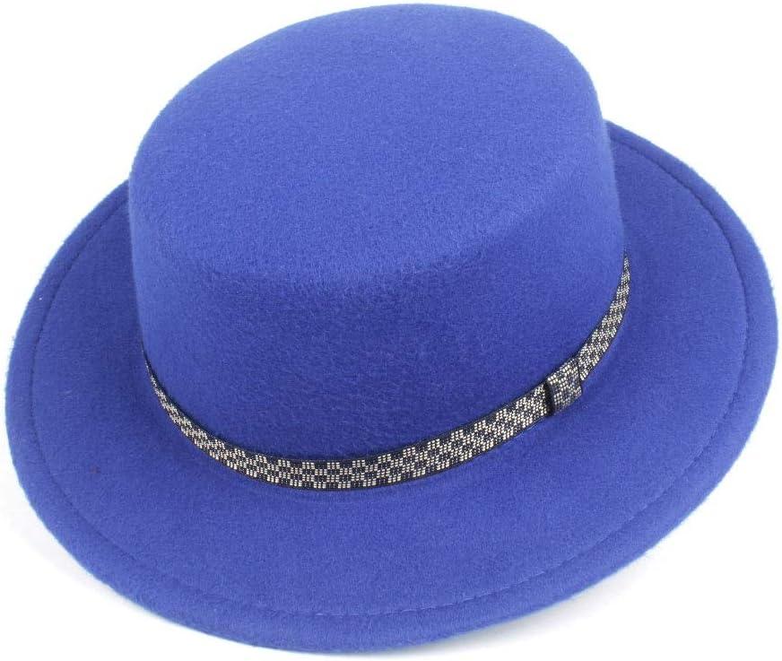 No-branded Men Women Flat Top Fedora Hat Outdoor Travel Chuch Hat Porpie Party Jazz Fascinator Warm Hat Size 56-58CM ZRZZUS (Color : E Blue, Size : 56-58)