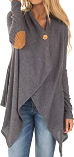 Sexyshine Women's Long Sleeve Elbow Patch Irregular Draped Open Front Button Knit Cardigan Coat