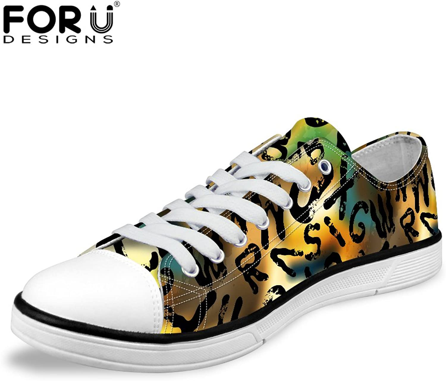 FOR U DESIGNS Brown Graffiti Women Lo-Top Comfortable Lace-Up Light Weight Canvas Sneaker US 8