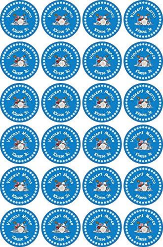 INDIGOS UG® Namensaufkleber Sticker - 30x30 mm - 019 - Schlagzeuger - Set von 24 Aufklebern individuell beschriftet - für Schule, Büro, zu Hause - Stifte, Hefte, Federmappen, Ordner