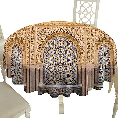 Cranekey Polyester Round Tablecloth 65 Inch Moroccan,Typical Moroccan Tiled Fountain in The City of Rabat Near Hassan Tower Apricot Pale Brown Great for,Family & More