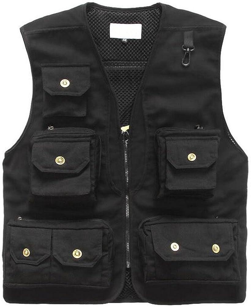YANXH Men's Multi Pockets Gilet Outdoor Leisure Photography Travel Fishing Vest , Black , xl