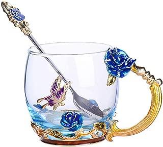 Coffee Mug Tea Cups Lead Free Handmade Flower Glass Tea Mug Spoon Set, Unique Birthday Gift Ideas For Women Grandma Mom Teachers Friend Wife,11oz