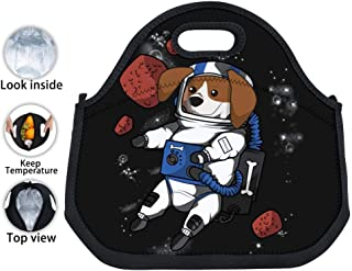 ENPENGOOD Beagle Astronaut Space Travel Tin Foil Lunch Bag Waterproof Bento Tote Boxes Insulated Snack Handbags