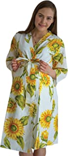 My Growing Belly White Maternity Robe - Perfect as Hospital Gown, Labor Birthing Gown, Nursing Robe
