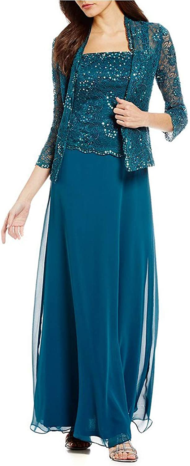 Yisha Bello Women's Mother of The Bride Dress Beaded Lace Evening Formal Dress with Jacket