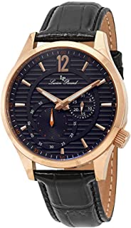 Men's 'Burano' Quartz Stainless Steel and Black Leather Casual Watch (Model: LP-40022-RG-014)