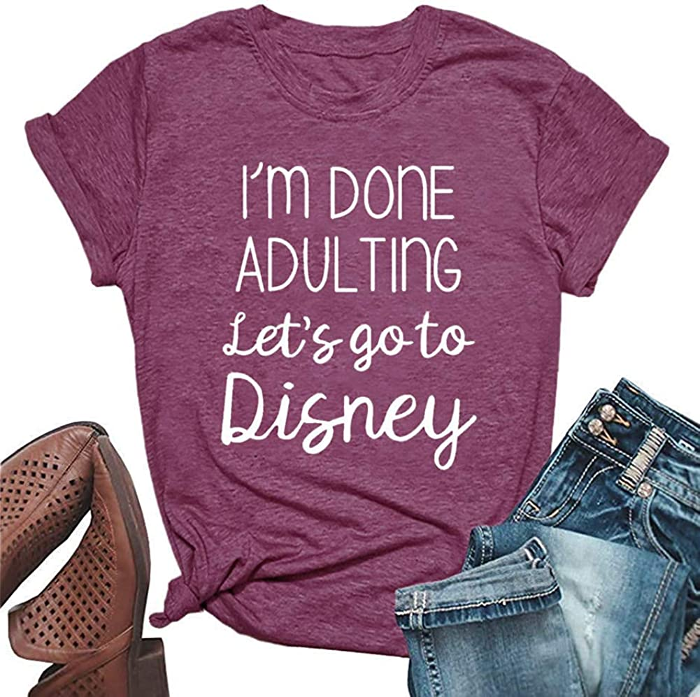 HDLTE Women I'm Done Adulting T Shirt Short Sleeve Female Casual Summer Vacation Tops Tee