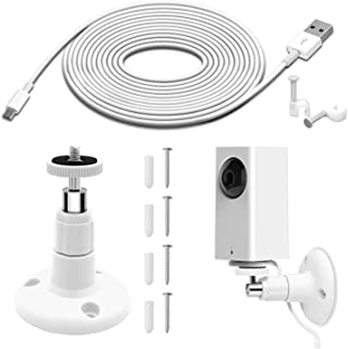 Wall Mount for Wyze Cam Pan Security Camera with 26FT Charging Cable, Wyze Cam Pan Mounting Kit Including Charging and Dat...
