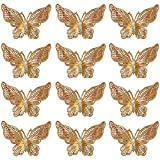 SYBKED 12 Pcs Butterfly Diamond Hollow Charms DIY Handmade Pendant Making Necklace Bracelet Earring Jewelry Decoration Accessories