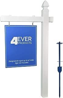 4EVER Vinyl PVC Real Estate Sign Post - White (Single)