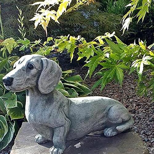 Dachshund Statue Garden Decor - Garden Dog Statue, Yard Lawn Resin Dog Sculpture, Outdoor Indoor Decorations, Lawn Garden Figurine Dog Statue, Dog Memorial Gifts for Dog Lovers (Dachshund)