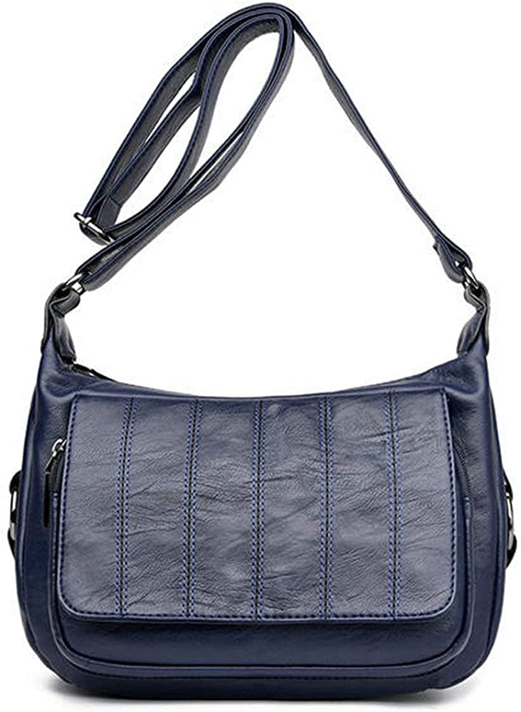 Trihedral-X Sac à bandoulière pour femme en cuir souple avec sac à bandoulière Color Black