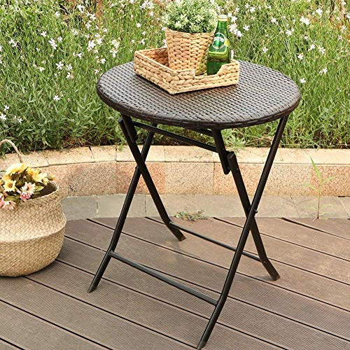PHI VILLA Outdoor Garden Folding Table, Foldable Dining Table, Patio Rattan Wicker Top Round Bistro Table with Metal Steel Frame 60cm