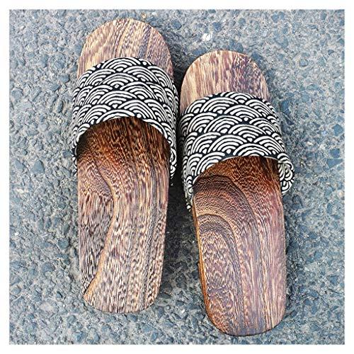 OFFA Pantuflas Pantuflas Sandalias Tradicionales Japonesas para Mujer, Zapatos De Madera, Estilo Chino De Algodón, Zapatillas De Punta Abierta, Zapatos De Playa Al Aire Libre para Exteriores