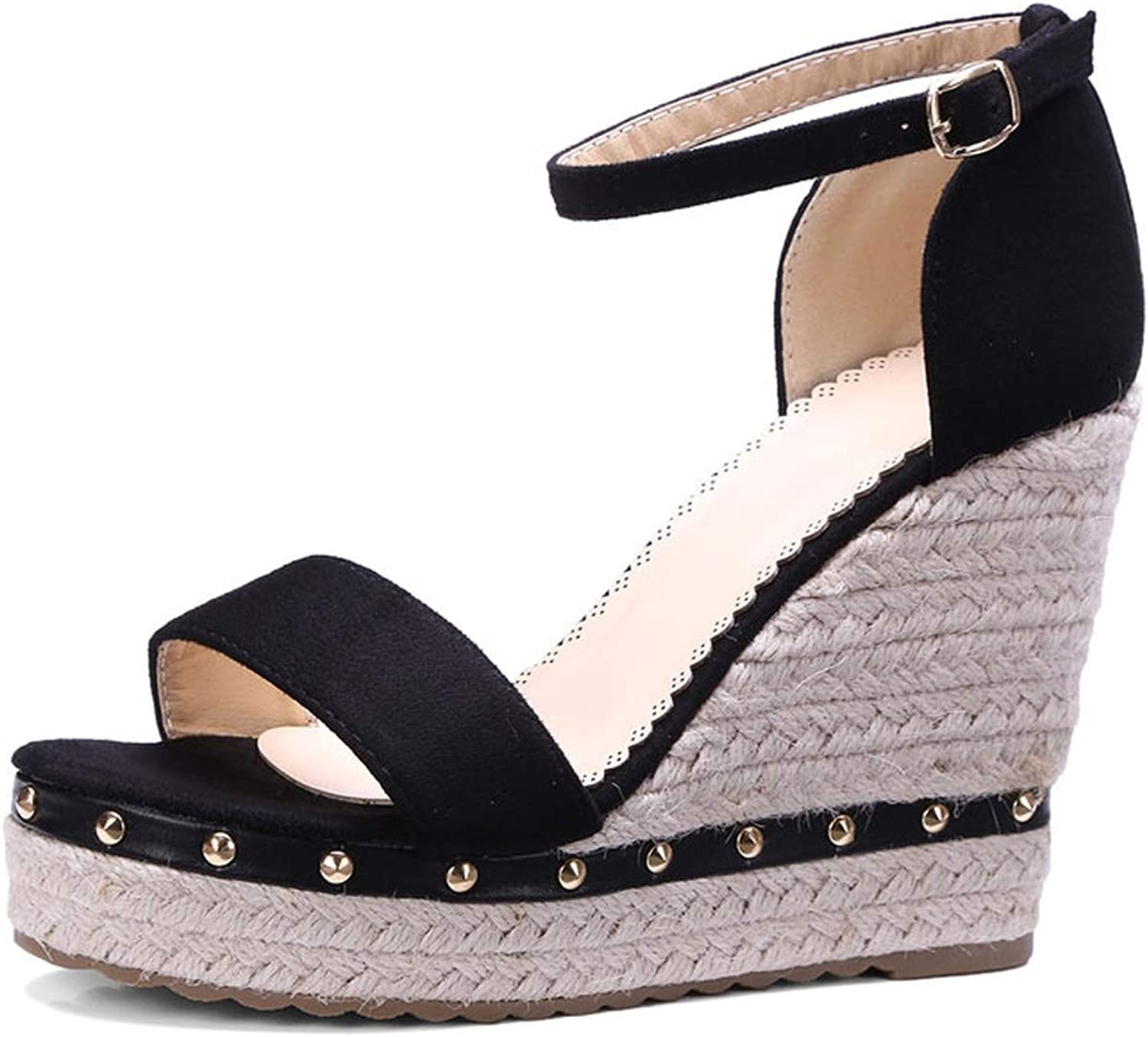 Solid Wedges High Heels Summer Cover Heel Sandals Concise Ankle-Wrap Women shoes Buckle Sandals