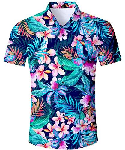 TUONROAD Hawaiihemd Herren Funny Blumen Shirt 3D Gedruckt Muster Bunte Funky Shirt Hemd Herren Kurzarm Sommerhemd Button Down Blau Freizeithemden Strandhemd Hawaii Hemd Männer Jungen L